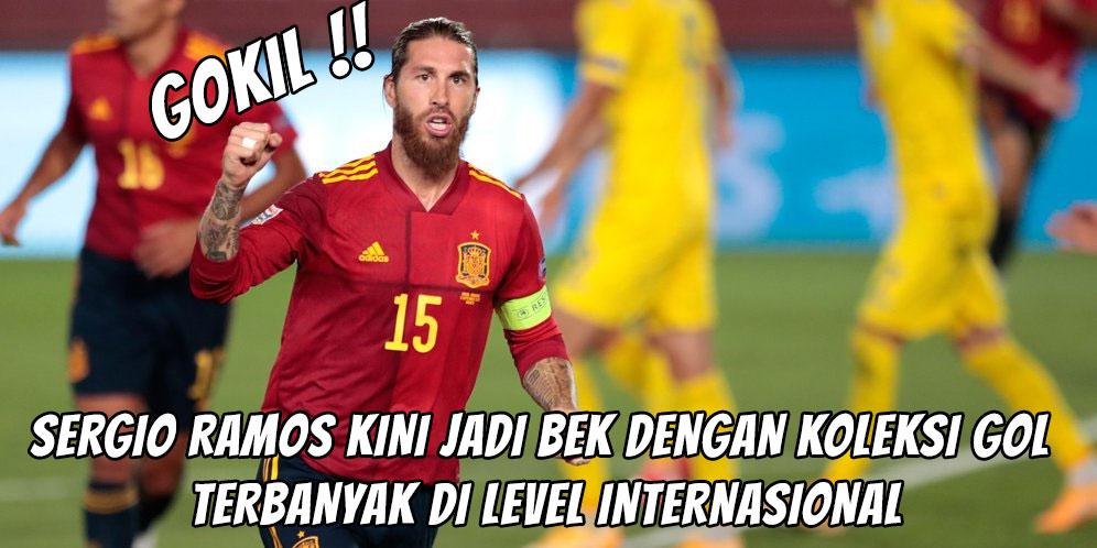 Gokil! Sergio Ramos Kini Jadi Bek dengan Koleksi Gol Terbanyak di Level Internasional